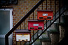 Mail boxes on an apartment stairway - Waseda