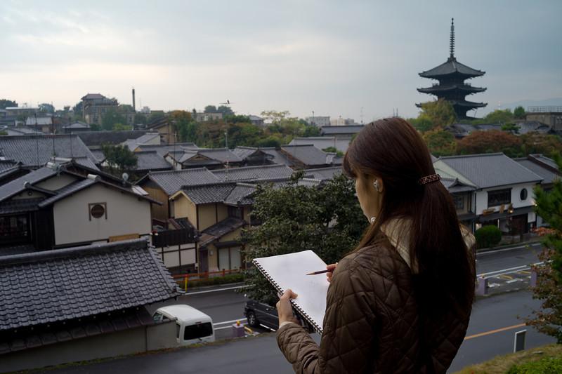 woman sketching, Kyoto