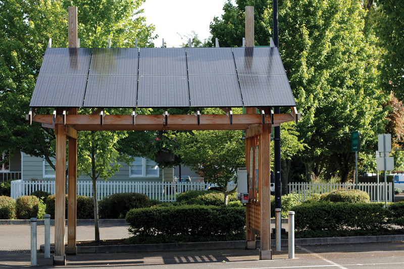 BEAVERTON, OREGON - MAY 25: Solar power station in the parking lot across from the library used to charge three nearby electric vehicle charging stations on May 25, 2012 in Beaverton, Oregon.