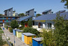 Photovoltaic panelled roofs in a energy efficient housing development in Vauban, Germany