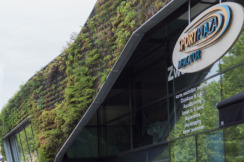 Sport Plaza Mercator with green walls in Amsterdam, Netherlands