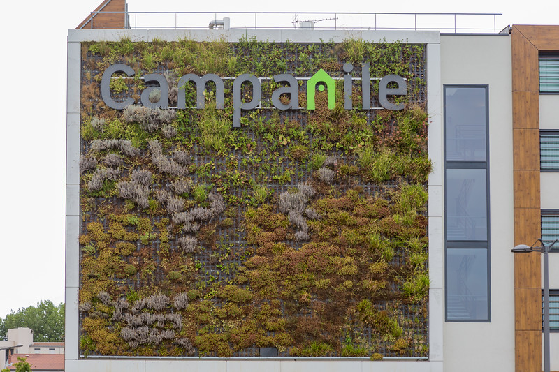 Green wall of Hôtel Campanile in South Lyon, France