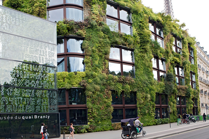 The vegetation covered wall of Musée du quai Branly - Jacques Chirac in Paris, France on the 13th August 2013