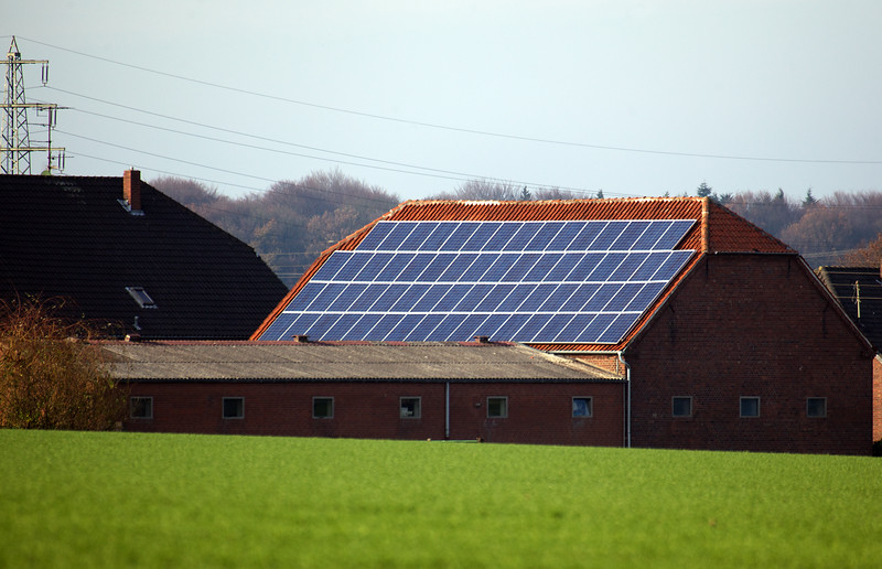 photovoltaic panels on farm building near Goch Germany 211110 ©RLLord 2875 smg
