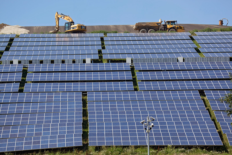 South side of Freiburg landfill in Germany covered with photovoltaic panels