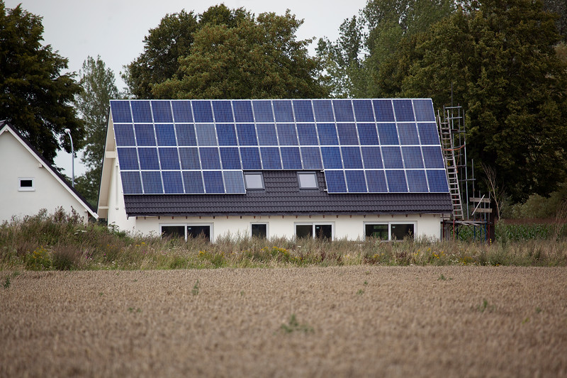 """German property with photovoltaic panels photographed on 11 August 2011<br /> ©RLLord<br /> File No. 110811 8993<br /> sustainableguernsey@gmail.com<br /> <br /> <a href=""""http://www.sustainableguernsey.info/blog/"""">http://www.sustainableguernsey.info/blog/</a>"""