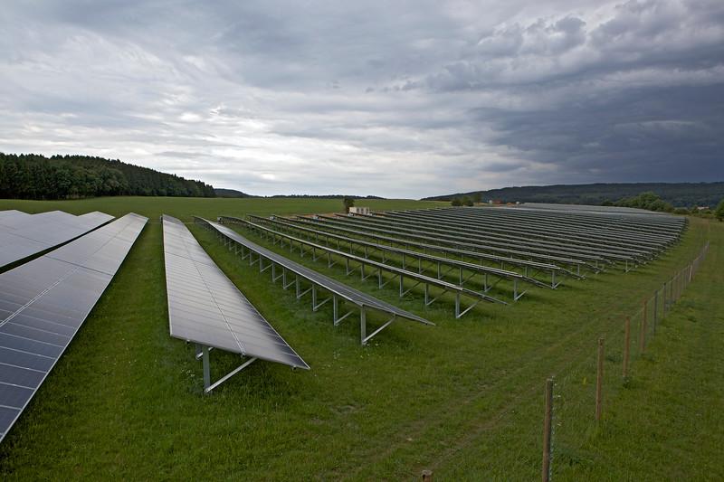 Solar farm next to the autobahn in Germany