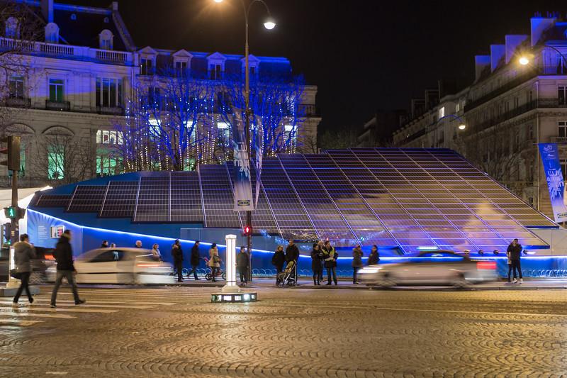 Photovoltaic panels on the Champs-Élysées, Paris, France during COP21