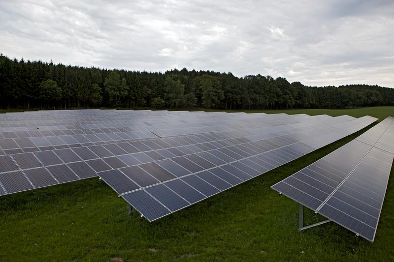 A solar farm next to a motorway in Germany