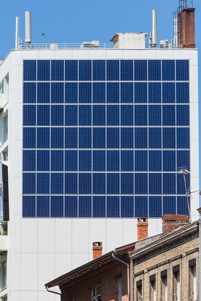 Photovoltaic panel cladding on a building in Toulouse, France