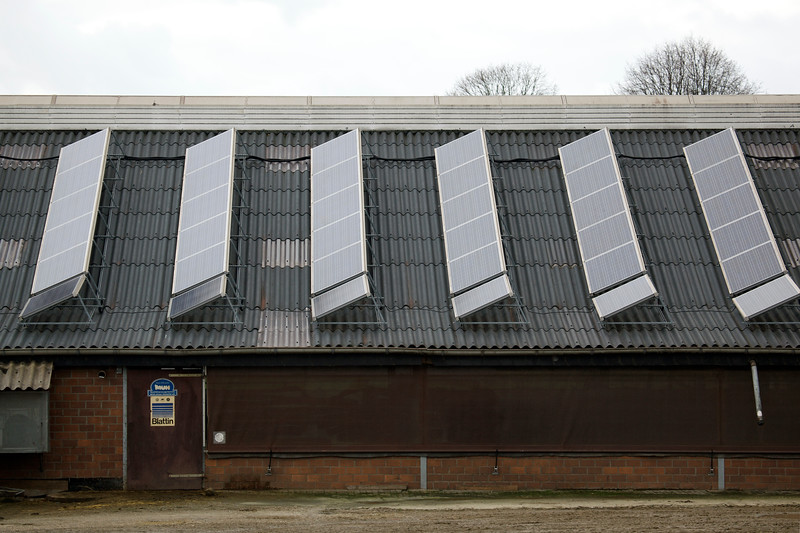 photovoltaic panels on farm building near Straelen Germany 070112 ©RLLord 0131 smg