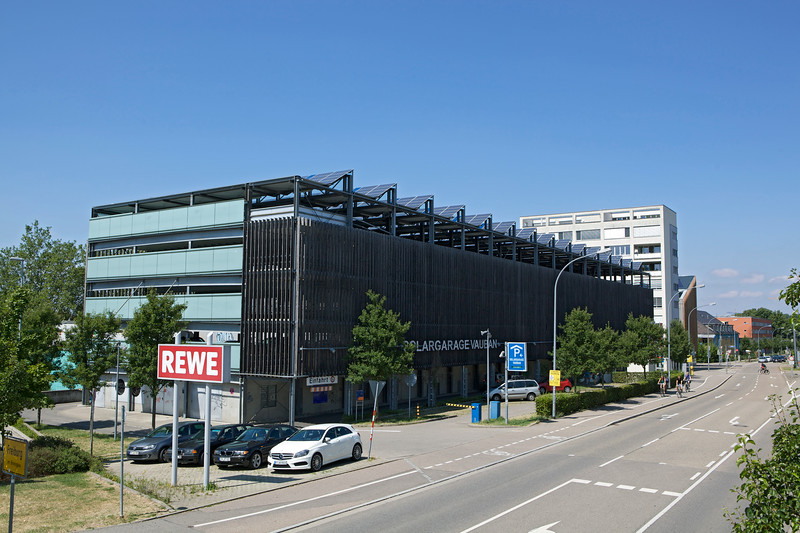 Solar panels on the roof of the multistorey car park in Vauban, Germany