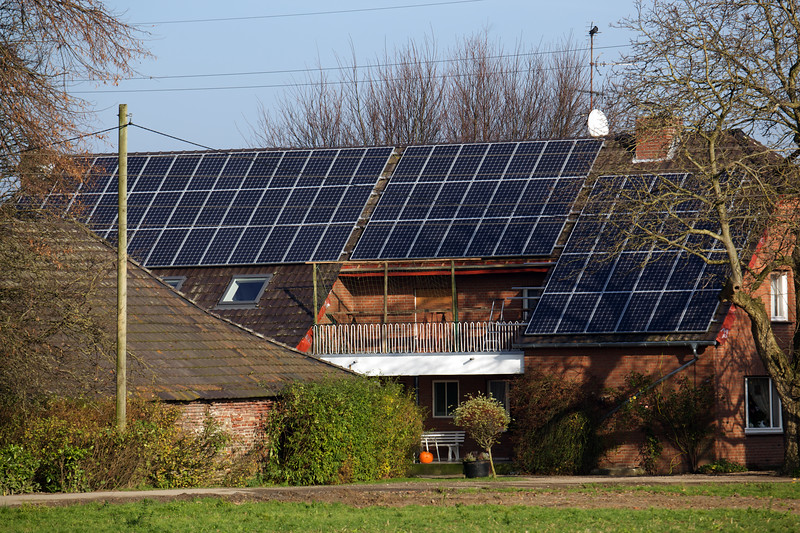 photovoltaic panels on farmhouse near Goch Germany 211110 ©RLLord 2843 smg
