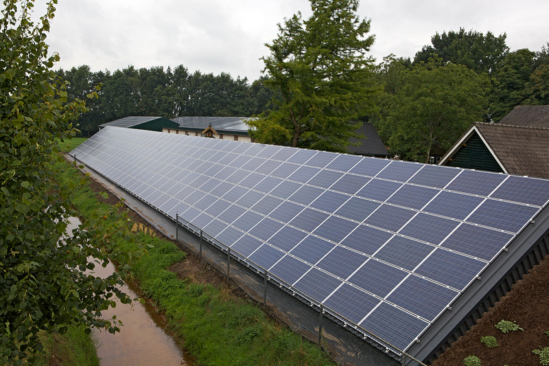 Photovoltaic panels at Heereco organic mushroom producer near Uden, The Netherlands