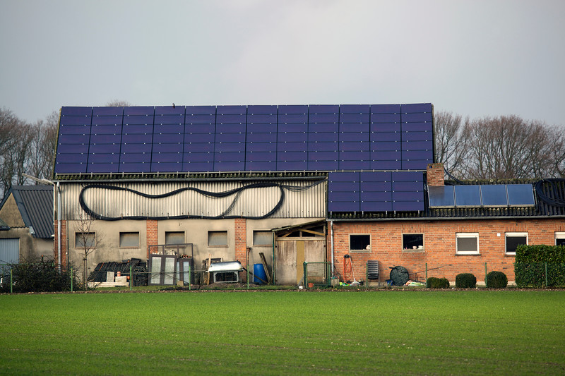 photovoltaic panels on building near Weeze airport 080112 ©RLLord 0176 smg