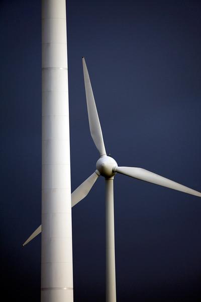 Wind turbines on a winter's day near Goch, Germany