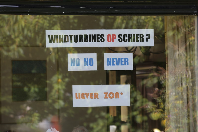 Protest sign against windturbines on Schiermonnikoog, The Netherlands