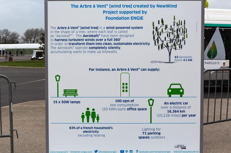 Information Board about Arbre a Vent outside the public pavilion at COP21