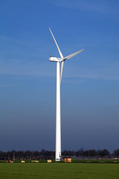 A wind turbine in the countryside near Goch, Germany