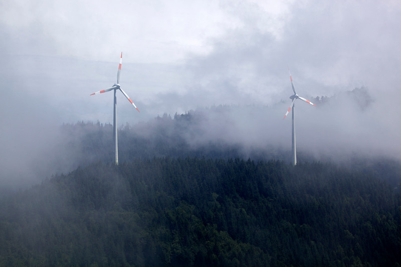 Two wind turbines in Forest above Freiburg, Germany on 4 August 2013<br /> <br /> File No. 040813 8748<br /> ©RLLord All Rights Reserved<br /> sustainableguernsey@gmail.com