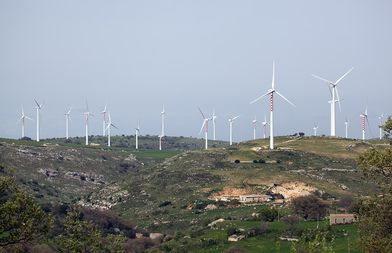 Wind turbines in Sicily, Italy