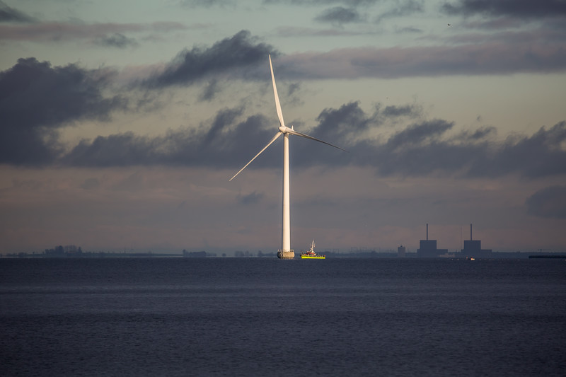 Offshore wind turbine outside Copenhagen, Denmark