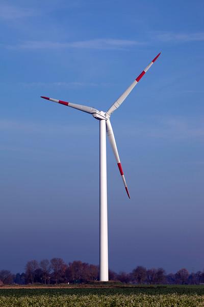 Wind turbine in the countryside near Goch, Germany