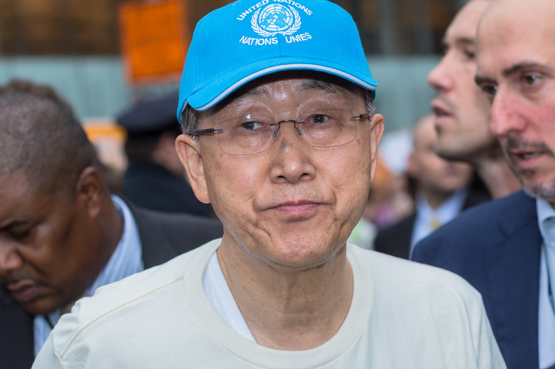 UN Secretary General Ban Ki-Moon at the People's Climate March in New York City