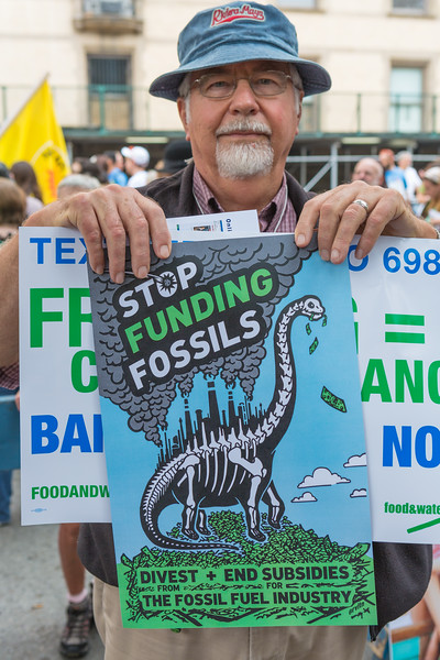 People's Climate March - stop funding fossils poster