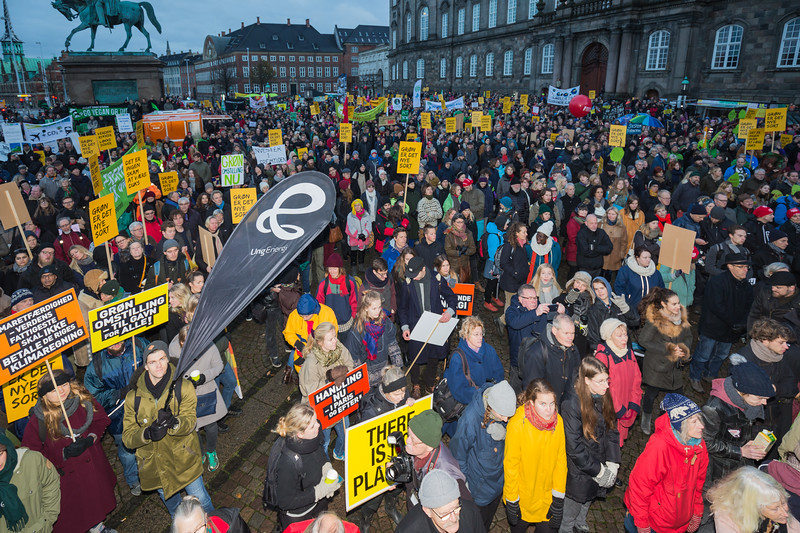 Copenhagen climate march outside Christiansborg Palace <br /> <br /> File No. 291115 <br /> <br /> ©RLLord<br /> All rights Reserved<br /> <br /> sealord@me.com