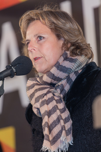 Copenhagen climate march Connie Hedegaard speaks v 291115 ©RLLord 8337 smg