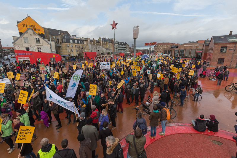 Copenhagen climate march begins in Superkilen Park by Nørrebrogade, København, Danmark
