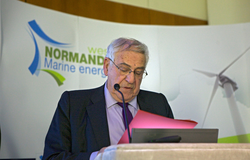 Jean-Francois Le Grand addressing the audience at the West Normandy Marine Energy conference