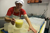 Fenella Maddison pouring curd into molds 161109