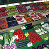 Some British supermarkets wrap their fruit and vegetables in plastic.  This green grocer in Bayeux, Normandy, France has a beautiful display of fruit and veg. without a plastic tray in sight.  Photographed on the 12 August 2006.<br /> <br /> File Name: Bayeux green grocer display 120806 3257
