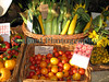 Some of the Guernsey Organic Growers vegetables sold by the Guernsey Climate Action Network ( G-CAN )  stall at the Sausmarez Manor Farmers' Market on the 20 September 2008.<br /> File No. 200908 780<br /> RLLord<br /> fishinfo@guernsey.net