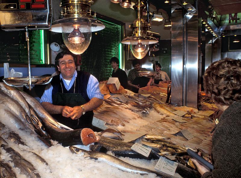 Seafood retailer in Madrid, Spain in April 1990
