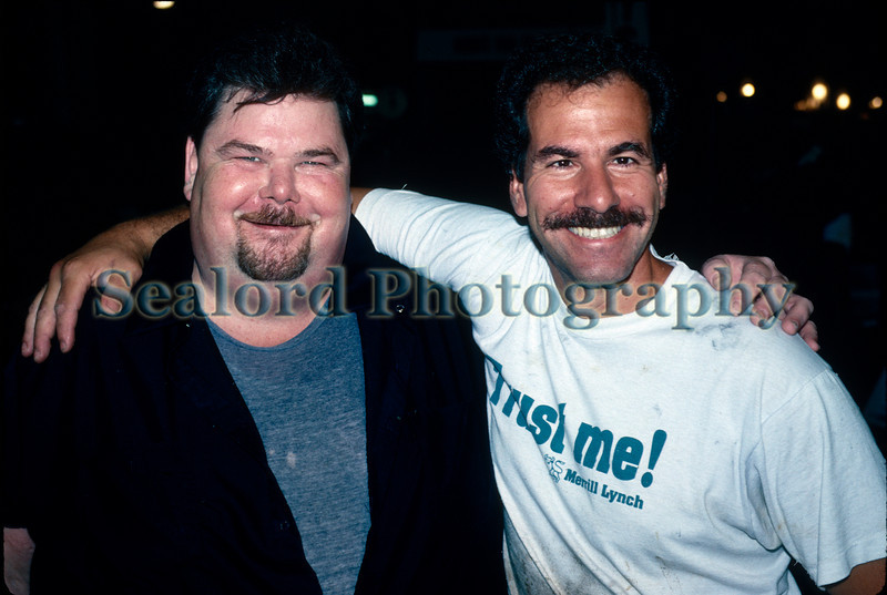 Seafood salesmen Paddy Curran and Bobby DiGregorio (in Trust Me t-shirt) at Fulton Fish Market, South Street, New York City in August 1991.<br /> File No. 1991 08 1 <br /> ©RLLord