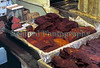 Whale meat on display at a Middleman stall in the Tsukiji Fish Market in December 1988