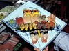 Plate of sushi at restaurant on Fulton Street, lower Manhattan, New York in March 1989.<br /> File No. 0389 10<br /> ©RLLord<br /> fishinfo@guernsey.net