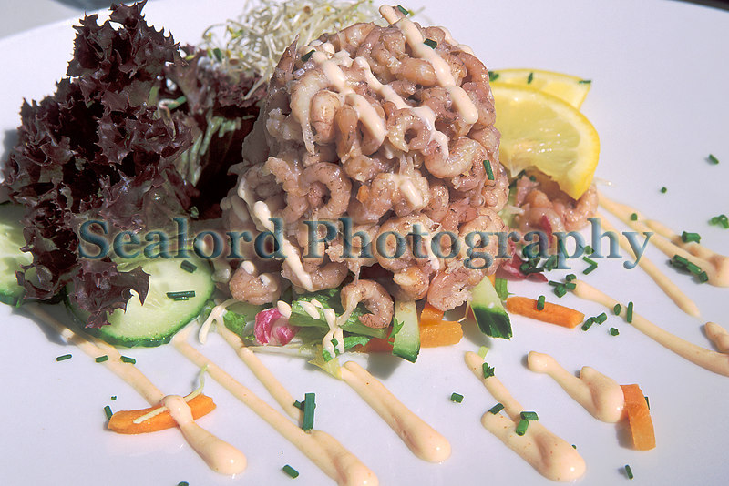 A mountain of brown shrimp, Crangon crangon, served at Visserie in the Dutch seaside city of Scheveningen.<br /> Photographed on 14 August 2003<br /> File No. 18-694<br /> ©RLLord<br /> fishinfo@guernsey.net