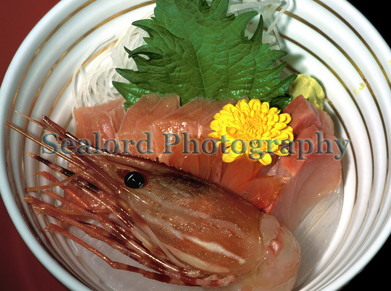 spot prawn, Pandalus platyceros, served in a Ryokan in Takayama, Japan.<br /> File No. 1-548<br /> ©RLLord<br /> fishinfo@guernsey.net
