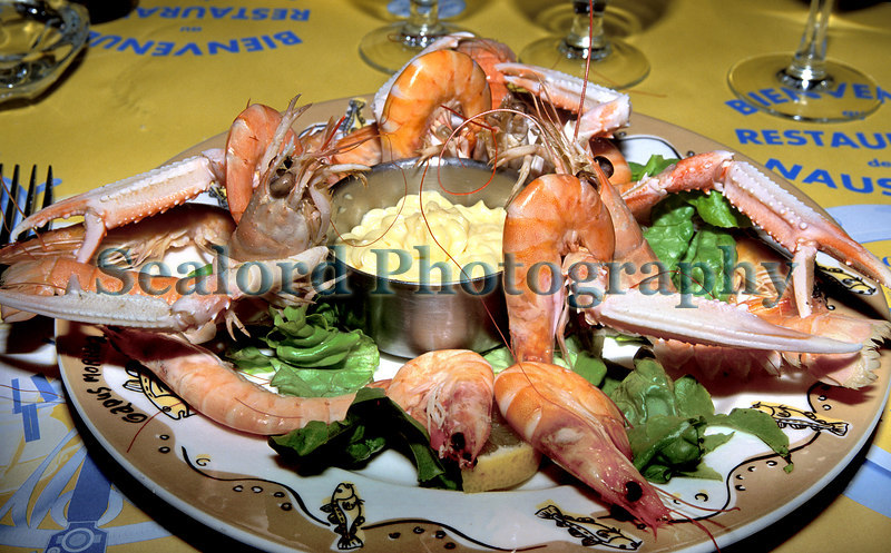 scampi and shrimp lunch at Nausica in Boulogne-sur-Mer, France.<br /> Photographed on 25 May 2003<br /> File No. 4-670<br /> ©RLLord<br /> fishinfo@guernsey.net