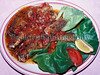 Freshwater eel served in tomato herb sauce in the Netherlands in 1991.<br /> ©RLLord<br /> fishinfo@guernsey.net