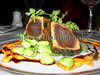 Grilled tuna with three bean salad at L'Escalier, which is one of Guernsey's finest restaurants.<br /> Photographed on 10 July 2005<br /> File No. 100705 635<br /> ©RLLord<br /> fishinfo@guernsey.net