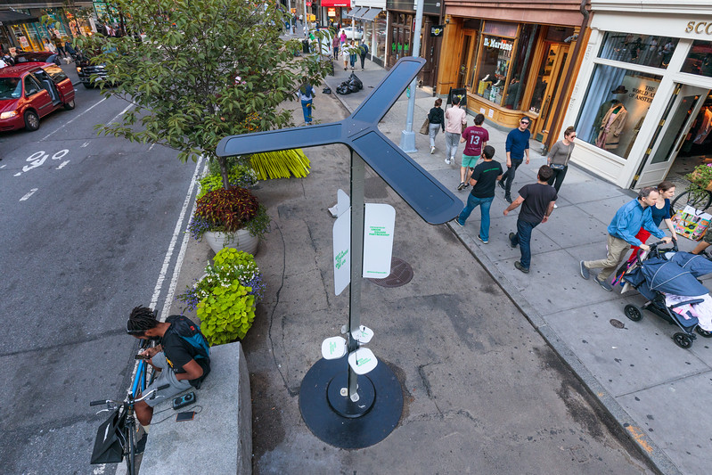 Solar street lamp installed by Union Square Partnership in Manhattan, USA