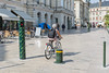 Orleans Place du Martroi pedestrianised square bicyclist France 170815 ©RLLord 2433 smg
