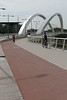 Cycle lane and pedestrian path across the Raymond Barre bridge in Lyon, France