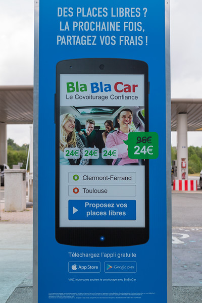Bla Bla Car advertisement at petrol station and rest stop on French motorway