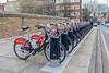 Santander Cycles bikes in docking station on Poplar High Street